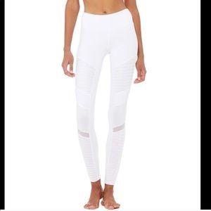 Alo yoga white gloss moto leggings small
